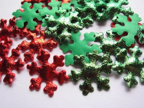 10 X INCH RED + GREEN SNOWFLAKE APPLIQUE EMBELLISHMENT HEADBANDS HAIR BOWS